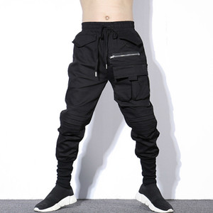 # 1719 가을 겨울 블랙 주름이 연필 하렘 바지 남성 플러스 사이즈 Hiphop 바지 망 큰 주머니 지퍼 한국 Streetwear Y19073001