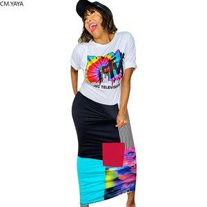 CM.YAYA women summer tie dye print splicing o-neck short sleeve slim maxi dress fashion long dresses vestidos