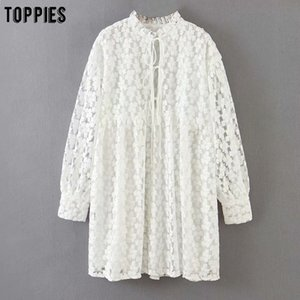 Women's Clothing toppies white embroidery dress summer lace mini dress womens sexy bandage sexy v-neck blouses