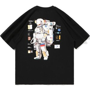 2020 new European and American hip-hop astronauts nasa printed short-sleeved t-shirt men's summer new ins tide brand net red couple loose ja
