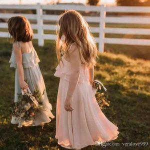 Bohem 2020 Allık Pembe Şifon Çiçek Kız Elbise için Boho Beach Country Düğün Parti Elbise Kat Uzunluk Kız Elbise Günlük