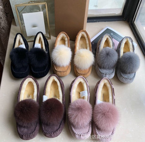 2019 Hochwertige australische Wolle SCHNEESCHUHE ONLINE Neu W Solana Loafer Tassels SLIPER Schneeschuhe Fahrschuhe Damen POMPOM Schuhe 35-40