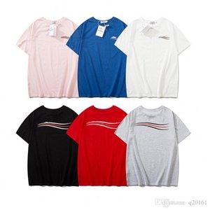 Mens de lujo diseñador de moda T Shirts Onda rayada Impresos Marca Hombres Mujeres algodón diseñador de la camisa de impresión de letras de manga corta camiseta
