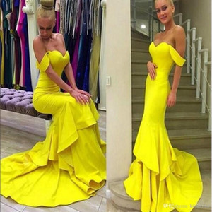 Yellow Mermaid Prom Dresses Off The Shoulder Long Formal Evening Gowns Sweep Train Satin Formal Party Dresses Bridesmaid Dress