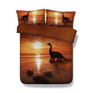 Dinosaurio colcha cama para niños de 3 Piezas Cubierta adolescente Niños Ropa de cama Funda Nórdica Con 2 Almohada Shams animal anaranjada Coverlet