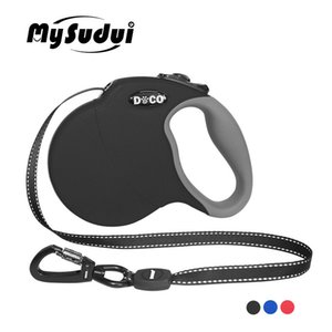 Mysudui 4m 5m Automatic Extending Reflective Nylon Leads Big Leash Retractable For Large Dog C19021302
