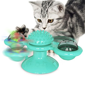 Windmill Cat Toy With Suction Cup Interactive Puzzle Training Turntable Teasing Teasi Scratching Tickle Massage Cats Hair Brush Cat Supplies