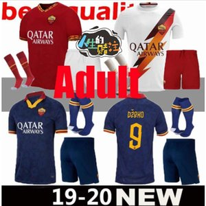 Adulti equipaggiarla al 2019 2020 DZEKO ROMA Jersey di calcio 19 20 uniformi TOTTI DZEKO PELLEGRINI Zaniolo El Shaarawy casa Fuori Terzo Football Shirt