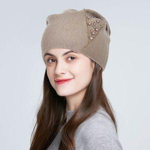 invierno ENJOYFUR sombreros para strass mujeres de la muchacha de la moda casquetes de lana gruesa caliente del color sólido femenino skullies exteriores de punto