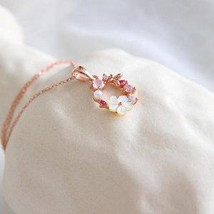 Colar Flores Moda borboleta creativo Zircon Crystal Pearl Shell Garland Pendant Colar Para Mulheres Jóias Acessórios