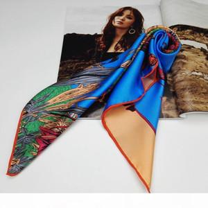 55x55cm Temperamento Floral Impressa 100% Pure Silk Scarf, Mulheres senhoras pequeno quadrado de seda sarja Lenços Wraps gravata Acessório