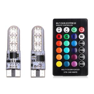 AUTO 인테리어 외부 조명 RGB 자동차 표시 등 T10 실리콘 5050-6SMD 자동차 LED 화려한 작은 램프 번호판 등 깜박임