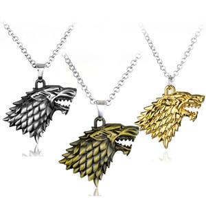 1 PC-Mode-Kopf-Abzeichen Wolf-Ketten-Halskette Game of Thrones Stark Familie Habicht Halskette Herren Damen Schmuck