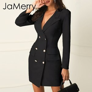 Jamerry Sexy Negro Blazer de doble botonadura Vestido de oficina Robe Blazer Vestido blanco Tallas grandes Bodycon Work Wear Vestidos MX19070302