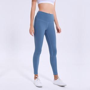 L-36 сплошной цвет женщины йога брюки высокая талия спорт тренажерный зал носить леггинсы спортивные женщины фитнес колготки со встроенным карманом йога брюки