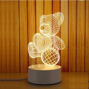 ضوء 3D صغير ضوء الليل مصباح مكتبي هدية مصباح USB اللمس التحكم عن بعد الأصالة دافئ السرير مصباح جديد Xiaoxiong 7 اللون