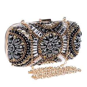 Mulheres Rivet Strass Noite Embreagens Diamante Bolsa de Casamento Nupcial Retro Caixa de Presente Exquisite Minaudiere Sacos de Festa Bolsa Noite Clutche