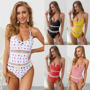 2019 Women Halter One Piece Swimwear Mesh Patchwork Monokini Water Sports Gear Female Tassel Swim Wear High Waist Beachwear