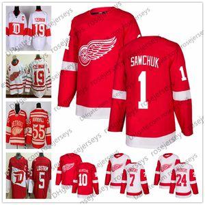 Red Wings de Detroit # 1 Terry Sawchuk 7 Ted Lindsay 10 Alex Delvecchio 12 Sid Abel 24 Bob Probert Blanc Chandails de hockey pour retraités