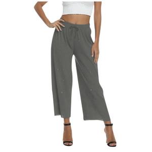 Los pantalones de las mujeres de ocio personalidad chispeante Casual Lace Up Pantalones de alta calidad suelta muy elástico de grandes pantalones ocasionales