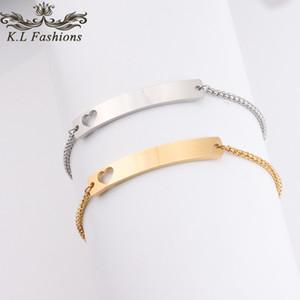 Trendy Love Heart Bracelet en acier inoxydable Can Nom personnalisé ID initial Silver Charm Bracelets or Bar Bracelet en blanc pour femmes Bijoux Cadeaux