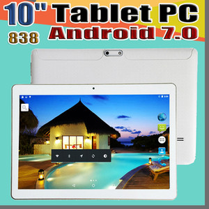 """838 10 Inch 10"""" Tablet PC MTK6580 MTK6592 Octa Core Android 7.0 4GB RAM 64GB ROM Phable tablet IPS Screen GPS 3G phone tablets E-9PB"""