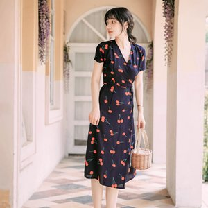 High Quality Series Summer Dress Cherry Print French New Look Chiffon Date Holiday Beach Vacation Daily Women Dresses 116