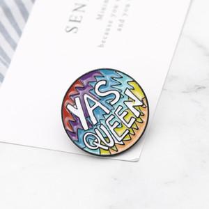 Badges Cartoon Lettre YAS QUEEN Brooches pour les femmes hommes Creative arc Coloful Pins Bijoux émail Pin Sac à dos Accessoires Sac