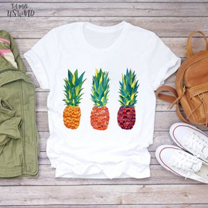 Cap Sleeve Women 2020 Summer Pineapple Watercolor Painting 90S Fruit Camisas Shirt Ladies Womens T Shirts Top T Graphic Female Tee T