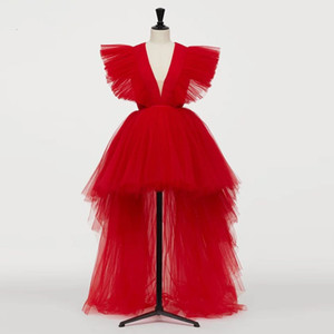 2020 New Red image Red Hot Haut Bas Tulle Robes de Bal Décolleté en V Robes longues Tutu Prom Party Ruches formelles Robes 2020