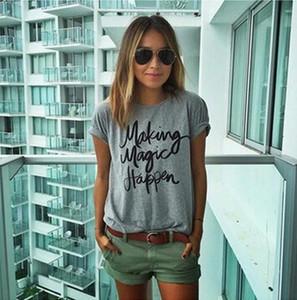 ZSIIBO NVTX19 hace que la magia suceda camisetas impresas para mujeres camiseta femme camisetas poleras camiseta camisetas femeninas tops