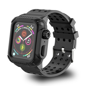 애플 시계 4 40-44mm 생활 방수 실리콘 스포츠 밴드를 들어 애플 시계 시리즈 4 스트랩과 보호 케이스에 대한 최신