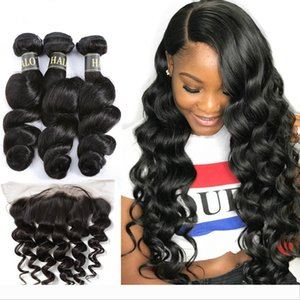 Brazilian Loose Wave M Remy Lace Frontal Closure 13X4 Free Part Pre Preplucked With 3 Bundles 100% Human Virgin Hair