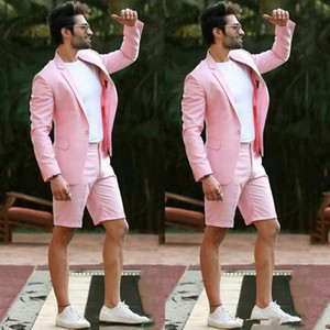 Modern Pink Wedding Men Suit With Short Pants Formal Business Terno Masculino Beach Mens Summer Beach Groom Wear Suits (Jacket+Pants)