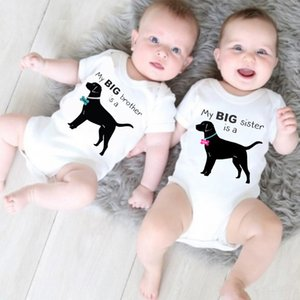 Newborn Baby Cotton Rompers Funny Dog Baby Boy Girls Twins Baby Short Sleeve Jumpsuits Roupas Bebes Infant Clothes
