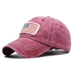algodón puro lavó bandera agujero cola de caballo gorra de béisbol marea de la manera cola de caballo aleros curvos ponytail tapa