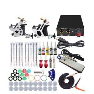 Komplett Tattoo Maschine Kit Set 2 Spulen Guns 5 Farben Schwarz Pigment Sets Leistung Tattoo Anfänger Grip Kits Permanent Make-up