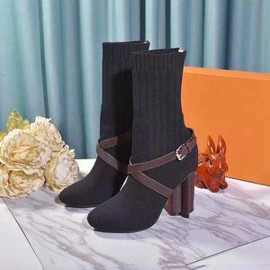 la qualité de la mode [Original Box] Nouveau luxe Femmes cheville HLAF talon haut 10CM Woollen Sock comme bottillons Ladies High Top Bottes Aftergame Quinconce