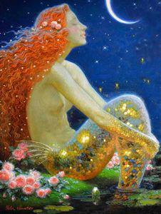 Home Art Decor Fantasy Vintage Mermaid Pittura ad olio Immagine stampata su tela per il salotto Adornamento Art