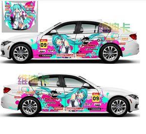 Japan Anime Vinyl Car Sticker Hatsune Miku Cartoon Door Body Decals Ralliart Stickers On Car Vehicle Accessories Hood Sticker