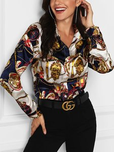 Frauen Revers Ausschnitt Frühling Printed Luxus Floral Blusen neue Herbst-Modedesigner-Tops Langarmhemd