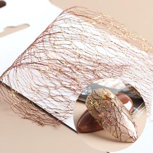 Nail eauty Salud 1pc del oro 3D arte de la plata de malla pegatinas Sliders neto Líneas de cinta de las Adhesivos Adhesivo Foil diseño de manicura Decoración LA1 ...