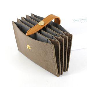 conjunto de cuero bolso de encargo Tarjeta del órgano de la tarjeta de alta capacidad de la piel de oveja acordeón paquete Sra hebillas mini tarjeta del cambio