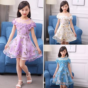 2017 Kids Girls Flower Dress Children Girl Voile Birthday Party Dress Baby Fancy Princess Fashion Yarn Dress 3 5 8 10 12 Years SH190908