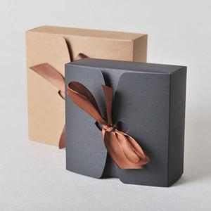 Nozze d'arte di carta Scatole Kraft con nastro nozze scatole di favore, baby shower scatola di favore di partito Gift Boxes