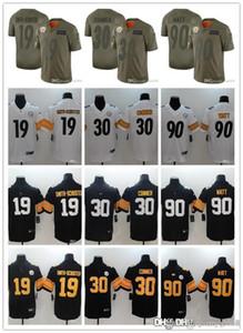 Men Women YouthPittsburghSteelersJersey 19 JuJu Smith-Schuster 90 T.J. Watt 30 James Conner Football Jerseys