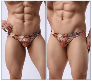 Hommes Vintage Sexy Slim Briefs Homme Mode respirant taille basse Fleur Casual Hommes Sous-vêtements Underpants Designer