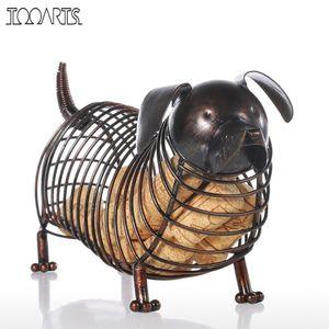 Tooarts Metal Figuras de Animales Dachshund Vino Corcho Contenedor Moderno Arte de Hierro Artificial Accesorios de Decoración Del Hogar Regalo Q190426