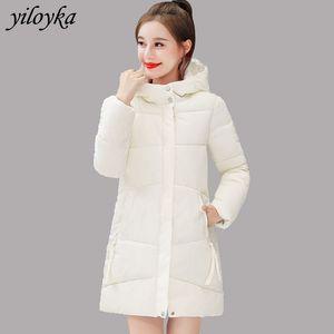 Women Winter Jackets Parkas Mujer Slim Solid Hooded Parka Warm Coat Cotton Padded Basic Jacket Female Long Outwear Jacket