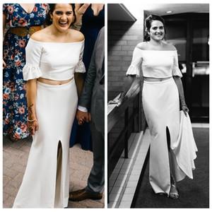 Chic High Quality Satin Two Piece Wedding Dress with Lace Sleeve Sheath Wedding Dresses High Split Cheap Bridal Gowns vestidos de noche